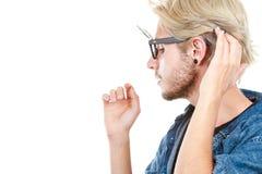 Καλλιτεχνικό άτομο Hipster με τα εκκεντρικά γυαλιά, πορτρέτο σχεδιαγράμματος Στοκ Φωτογραφίες