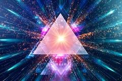Καλλιτεχνικό αφηρημένο πολύχρωμο έργο τέχνης τριγώνων σε ένα πολύχρωμο υπόβαθρο ακτίνων του φωτός διανυσματική απεικόνιση