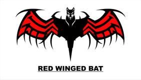 Καλλιτεχνικό μαύρο ρόπαλο με το κόκκινο φτερό απεικόνιση αποθεμάτων