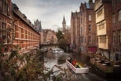 καλλιτεχνικό watercolor σύστασης ύφους της Γάνδης καναλιών του Βελγίου Στοκ Εικόνες