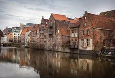 καλλιτεχνικό watercolor σύστασης ύφους της Γάνδης καναλιών του Βελγίου Στοκ φωτογραφία με δικαίωμα ελεύθερης χρήσης