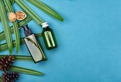 Καλλυντικά εμπορευματοκιβώτια μπουκαλιών στο πράσινο βοτανικό υπόβαθρο φύλλων, κενή ετικέτα για το μαρκάρισμα του προτύπου Στοκ Εικόνα