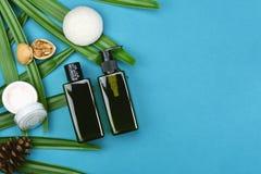 Καλλυντικά εμπορευματοκιβώτια μπουκαλιών στο πράσινο βοτανικό υπόβαθρο φύλλων, κενή ετικέτα για το μαρκάρισμα του προτύπου, φυσικ Στοκ εικόνα με δικαίωμα ελεύθερης χρήσης