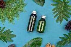Καλλυντικά εμπορευματοκιβώτια μπουκαλιών στο πράσινο βοτανικό υπόβαθρο φύλλων, κενή ετικέτα για το μαρκάρισμα του προτύπου Στοκ Φωτογραφίες