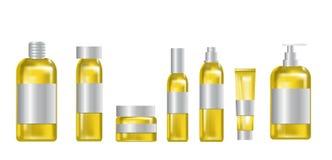 Καλλυντικά κίτρινα προϊόντα καθορισμένα Στοκ Εικόνες