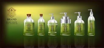 Καλλυντικά πράσινα προϊόντα με με το λογότυπο Στοκ Φωτογραφία