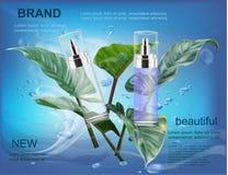 Καλλυντικά προϊόντα στο μπλε νερό με το φύλλο Στοκ φωτογραφία με δικαίωμα ελεύθερης χρήσης