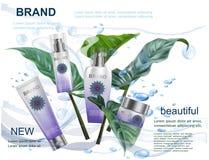 Καλλυντικά προϊόντα στο σαφές νερό με το φύλλο και το Βοημίας λογότυπο Στοκ Εικόνα