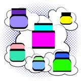 Διανυσματική απεικόνιση στο λαϊκό κωμικό ύφος τέχνης Καλλυντική κρέμα ομορφιάς και προσοχής στα λεκτικά σύννεφα φυσαλίδων και ημί ελεύθερη απεικόνιση δικαιώματος