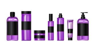 Καλλυντικό ιώδες πλαστικό σύνολο προϊόντων μπουκαλιού Στοκ Φωτογραφίες