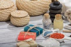 Καλλυντικό λουτρών SPA υπόβαθρο επεξεργασίας ομορφιάς σαπουνιών Στοκ φωτογραφίες με δικαίωμα ελεύθερης χρήσης