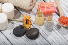 Καλλυντικό λουτρών SPA υπόβαθρο επεξεργασίας ομορφιάς σαπουνιών Στοκ Φωτογραφία