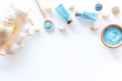 Καλλυντικό που τίθεται με το άλας και το κοχύλι λουτρών από το νεκρό θάλασσας άσπρο διάστημα άποψης υποβάθρου τοπ για το κείμενο Στοκ φωτογραφία με δικαίωμα ελεύθερης χρήσης