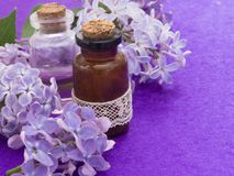 Καλλυντικό προϊόν με τα ιώδη λουλούδια, φρέσκα ως έννοια άνοιξη Στοκ Φωτογραφίες