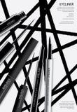 Καλλυντικό Eyeliner με το σχέδιο αφισών συσκευασίας διανυσματική απεικόνιση