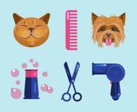Καλλωπισμός γατών και σκυλιών Pet που καλλωπίζει τα εικονίδια διανυσματική απεικόνιση