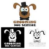 καλλωπισμός σκυλιών Εικονίδιο υπηρεσιών σκυλιών για τα σαλόνια και τους κομμωτές κατοικίδιων ζώων απεικόνιση αποθεμάτων