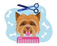 Καλλωπισμός σκυλιών Κουτάβι κουρέματος Σαλόνι για τα ζώα ελεύθερη απεικόνιση δικαιώματος