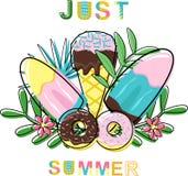 Καλοκαίρι αφισών ακριβώς με το παγωτό και donuts - διανυσματική απεικόνιση, eps απεικόνιση αποθεμάτων