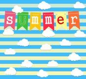Καλοκαίρι Διανυσματικό υπόβαθρο με το σύνολο σύννεφων ελεύθερη απεικόνιση δικαιώματος