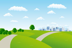 καλοκαίρι εικονικής παράστασης πόλης απεικόνιση αποθεμάτων