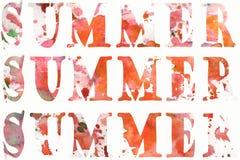 Καλοκαίρι επιγραφών Watercolor με τους λεκέδες και πτώσεις στο άσπρο υπόβαθρο διανυσματική απεικόνιση