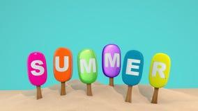 Καλοκαίρι επιστολών στο παγωτό σε ένα ραβδί στην άμμο τρισδιάστατος δώστε Στοκ Εικόνες