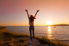 Καλοκαίρι θάλασσας Ηλιοβασίλεμα μπακαράδων στοκ εικόνες