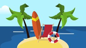 Καλοκαίρι και καθορισμός παραλιών HD διανυσματική απεικόνιση