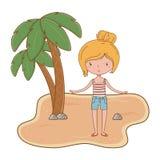 Καλοκαίρι και κινούμενα σχέδια παιδιών διανυσματική απεικόνιση