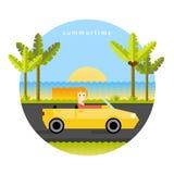 Καλοκαίρι Κορίτσι στο κίτρινο αυτοκίνητο Απεικόνιση αποθεμάτων