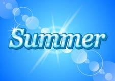 Καλοκαίρι λέξης στο υπόβαθρο των ακτίνων του ήλιου στο διάνυσμα απεικόνιση αποθεμάτων