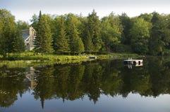 καλοκαίρι λιμνών σπιτιών Στοκ Εικόνες