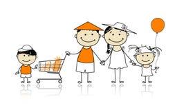 καλοκαίρι οικογενειακών καλές διακοπές αγορών καλαθιών απεικόνιση αποθεμάτων