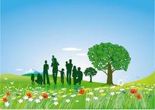 καλοκαίρι οικογενειακών χορτοταπήτων απεικόνιση αποθεμάτων