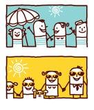 καλοκαίρι οικογενεια διανυσματική απεικόνιση
