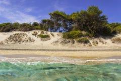 Καλοκαίρι Οι ομορφότερες παραλίες άμμου Apulia: Κόλπος Alimini, ακτή Ιταλία Lecce Salento Στοκ Φωτογραφίες