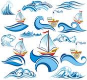 Καλοκαίρι που τίθεται με τα κύματα και τα σκάφη νερού ελεύθερη απεικόνιση δικαιώματος