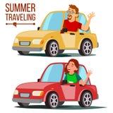 Καλοκαίρι που ταξιδεύει από το διάνυσμα αυτοκινήτων Αρσενικό, θηλυκό Κορίτσι και αγόρι στις θερινές διακοπές Οδηγώντας μηχανή Γύρ ελεύθερη απεικόνιση δικαιώματος