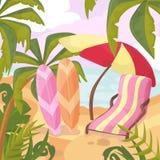 Καλοκαίρι στην παραλία Φοίνικες και εγκαταστάσεις γύρω Διάνυσμα κινούμενων σχεδίων krasnodar διακοπές θερινών εδαφών katya Στοκ Φωτογραφίες