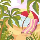 Καλοκαίρι στην παραλία Φοίνικες και εγκαταστάσεις γύρω Διάνυσμα κινούμενων σχεδίων krasnodar διακοπές θερινών εδαφών katya Στοκ φωτογραφίες με δικαίωμα ελεύθερης χρήσης