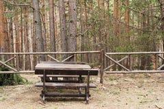 καλοκαίρι στρατοπέδευ&sig Ξύλινος πάγκος στο δασικό πικ-νίκ στη δασική ευκολία μεταξύ της φύσης Πίνακας και πάγκοι που περιβάλλον στοκ φωτογραφίες