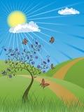 καλοκαίρι τοπίων ανασκόπ&eta ελεύθερη απεικόνιση δικαιώματος