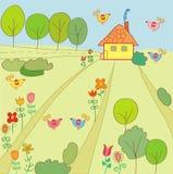 καλοκαίρι τοπίων σπιτιών διανυσματική απεικόνιση