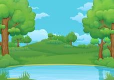 Καλοκαίρι, υπόβαθρο ημέρας άνοιξης Λίμνη ή ποταμός με τα πολύβλαστους πράσινους δέντρα και τους Μπους διανυσματική απεικόνιση