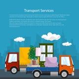 Καλυμμένα φορτηγό και φορτηγό με τα έπιπλα, αφίσα ελεύθερη απεικόνιση δικαιώματος