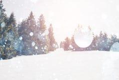 καλυμμένα hoarfrost δέντρα χιονιού βουνών βουνών σπιτιών Στοκ Φωτογραφίες
