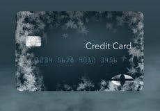 Καλυμμένες οι παγετός πιστωτικές κάρτες επεξηγούν την τοποθέτηση ενός πιστωτικού παγώματος σε μια πιστωτική έκθεση απεικόνιση αποθεμάτων