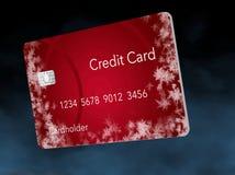 Καλυμμένες οι παγετός πιστωτικές κάρτες επεξηγούν την τοποθέτηση ενός πιστωτικού παγώματος σε μια πιστωτική έκθεση ελεύθερη απεικόνιση δικαιώματος