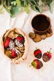 Καλυμμένες σοκολάτα φράουλες με τις νιφάδες και τη ζάχαρη καρύδων μέσα Στοκ Εικόνες